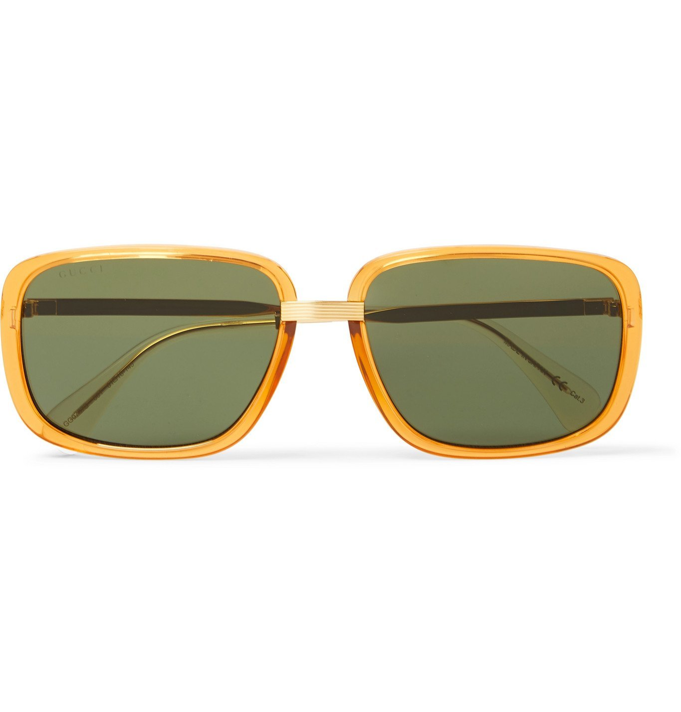Photo: Gucci - Square-Frame Acetate and Gold-Tone Sunglasses - Gold