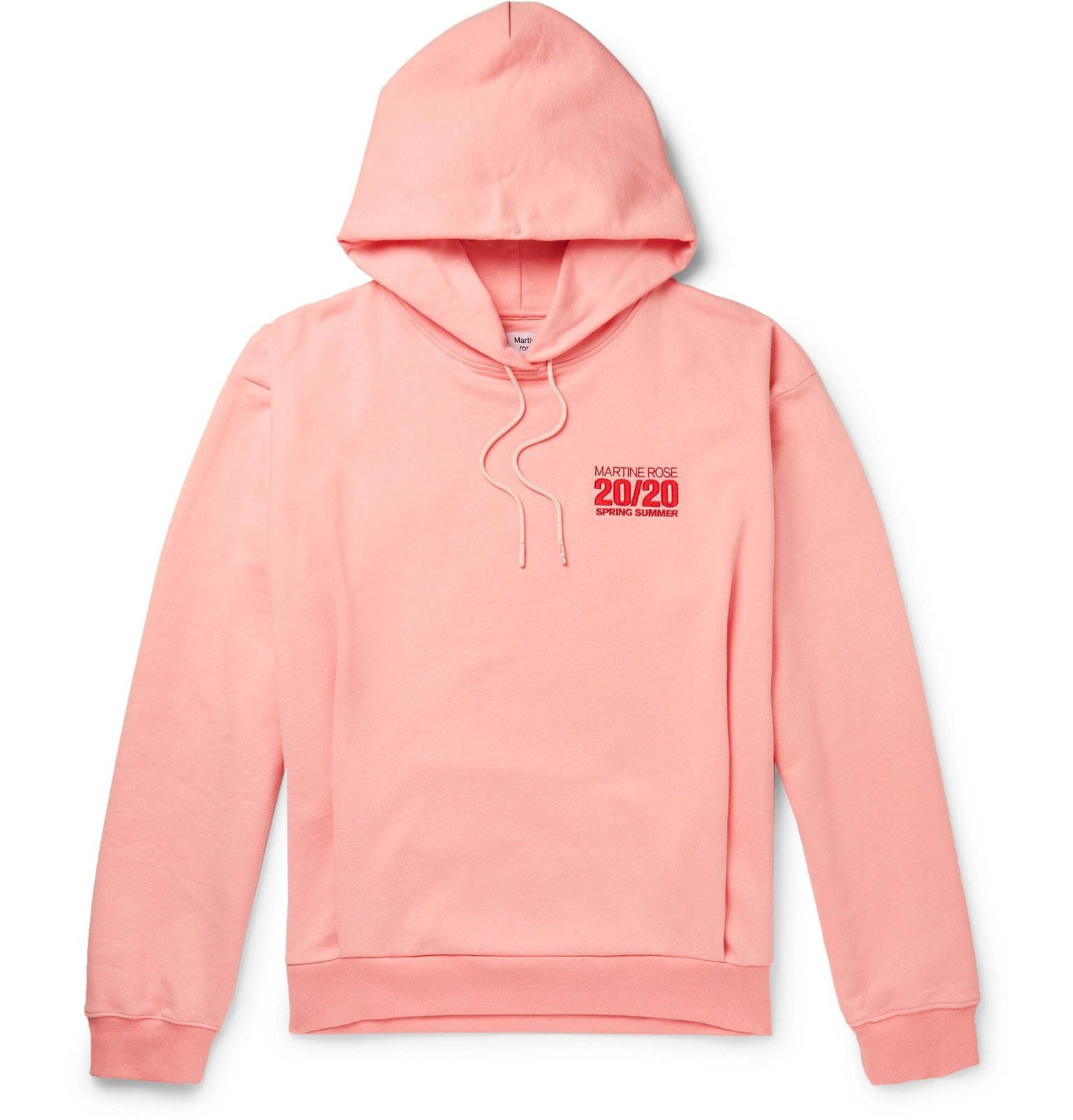 Photo: Martine Rose - Logo-Embroidered Loopback Cotton-Jersey Hoodie - Pink