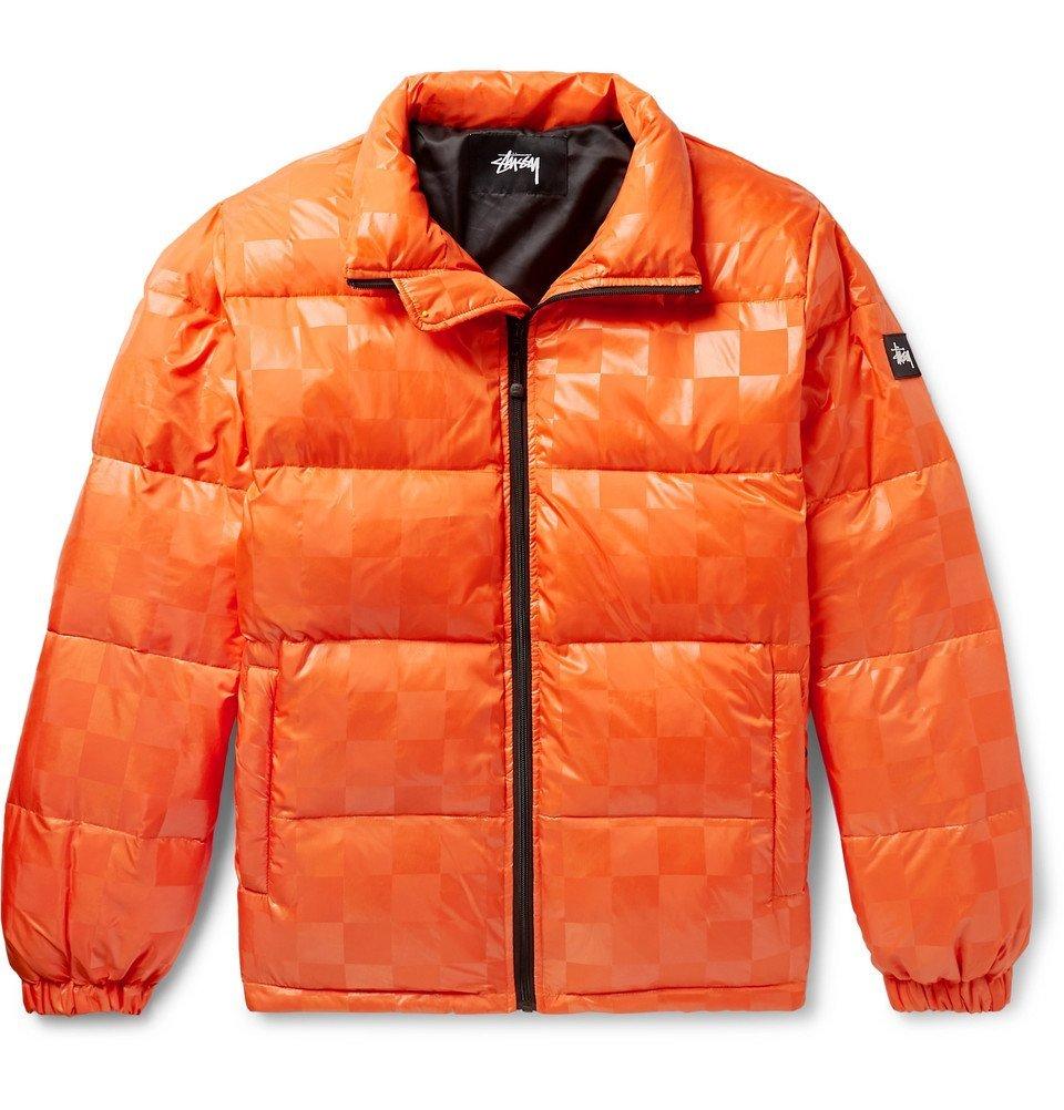 Photo: Stüssy - Appliquéd Checkerboard Shell Down Jacket - Orange