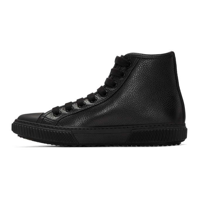 Black Triangle Logo High-Top Sneakers Prada
