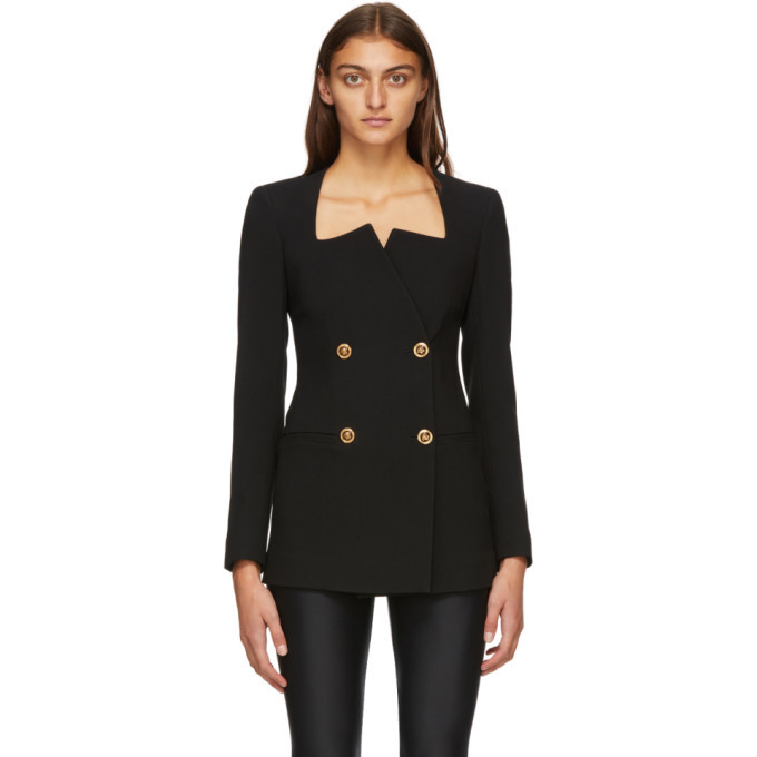 Photo: Versace Black Square Collar Double-Breasted Blazer