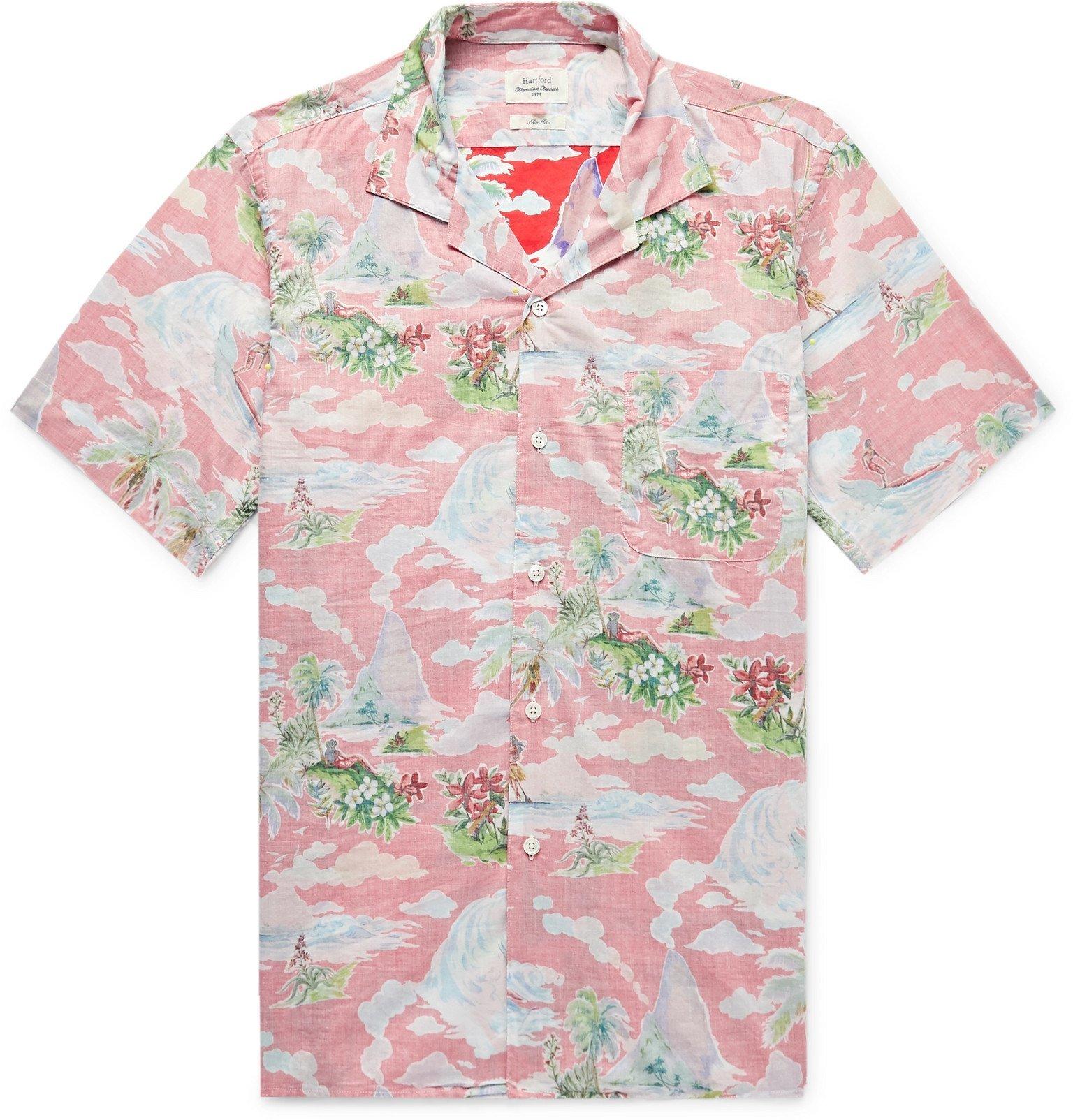 Photo: Hartford - Slim-Fit Camp-Collar Printed Cotton-Chambray Shirt - Red