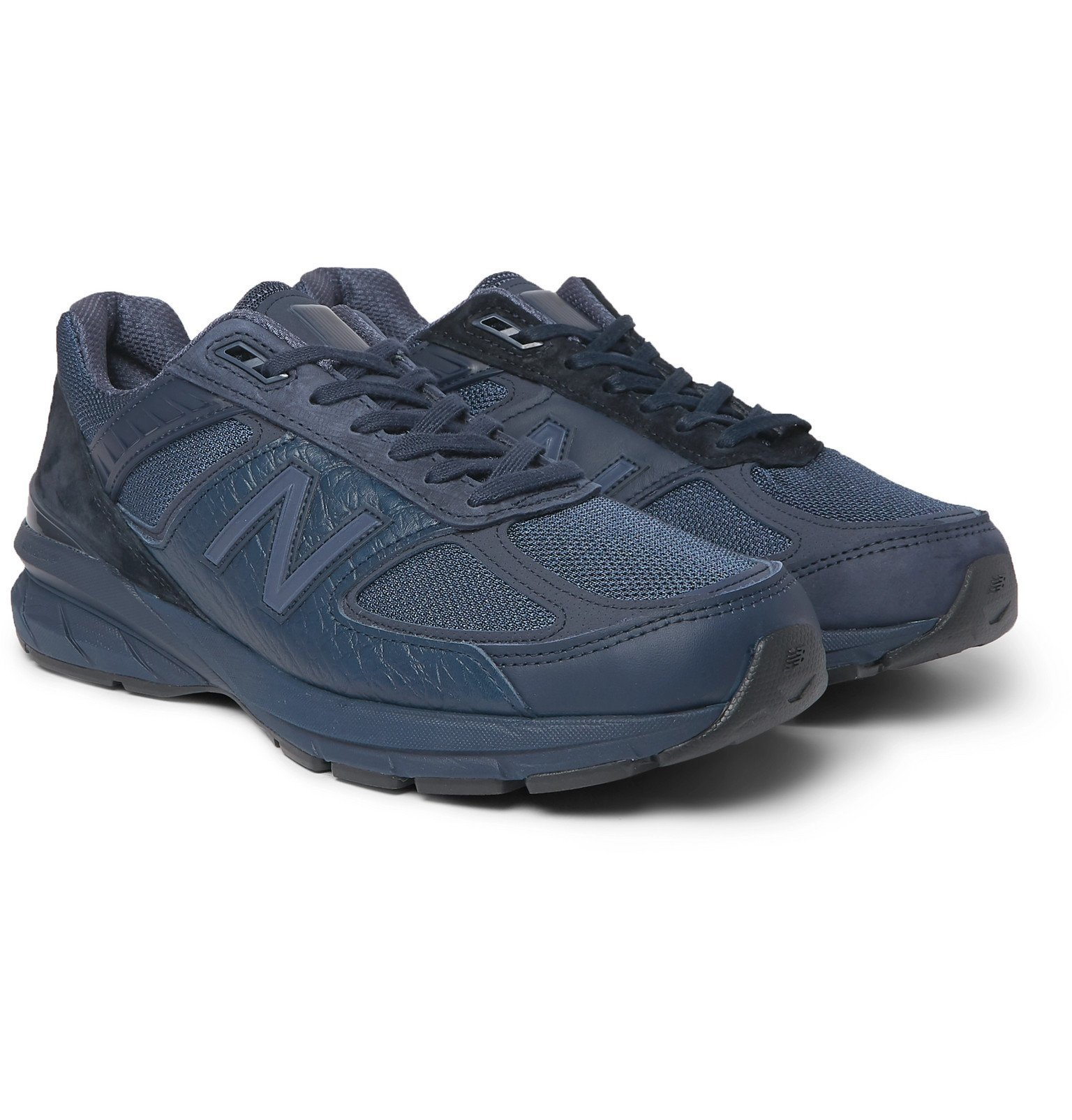 Photo: New Balance - Engineered Garments 990v5 Croc-Effect Leather, Suede, Nubuck and Mesh Sneakers - Blue