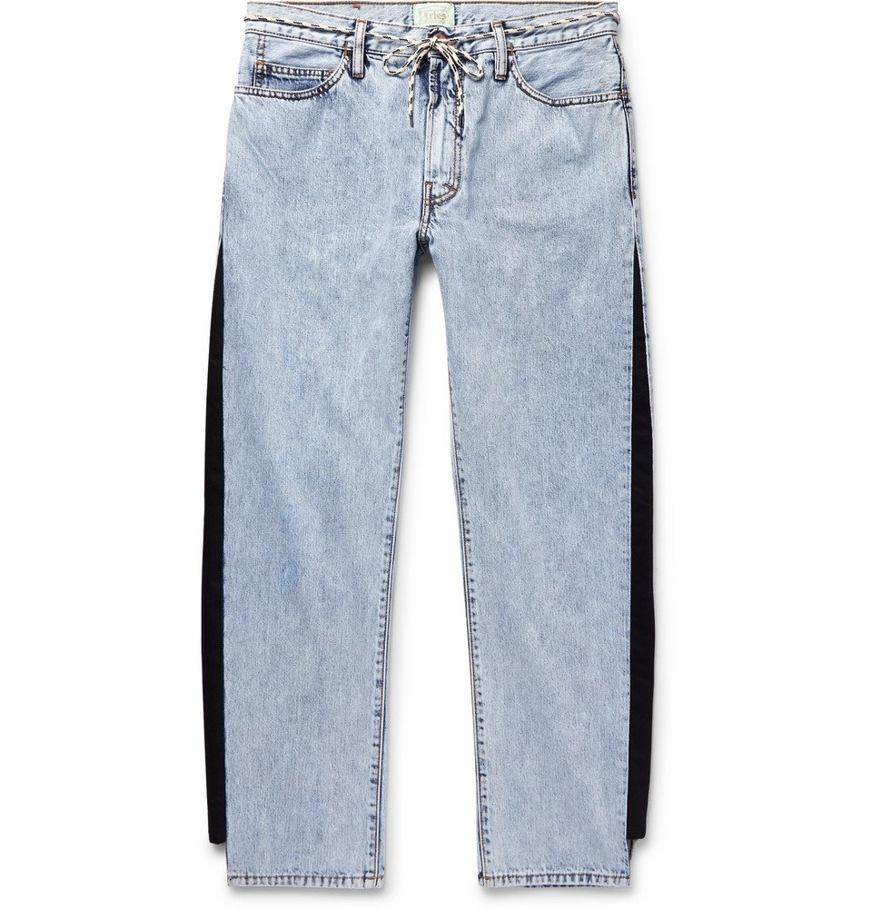 Aries - Twill-Trimmed Acid-Washed Jeans - Men - Blue