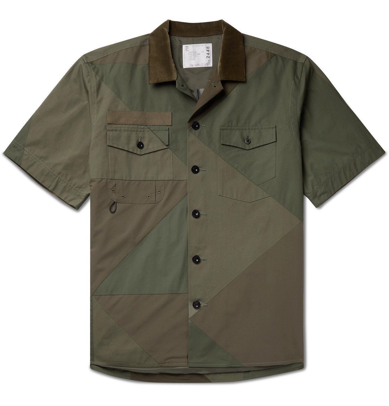 Sacai - Hank Willis Thomas Velvet-Trimmed Panelled Cotton Shirt - Green
