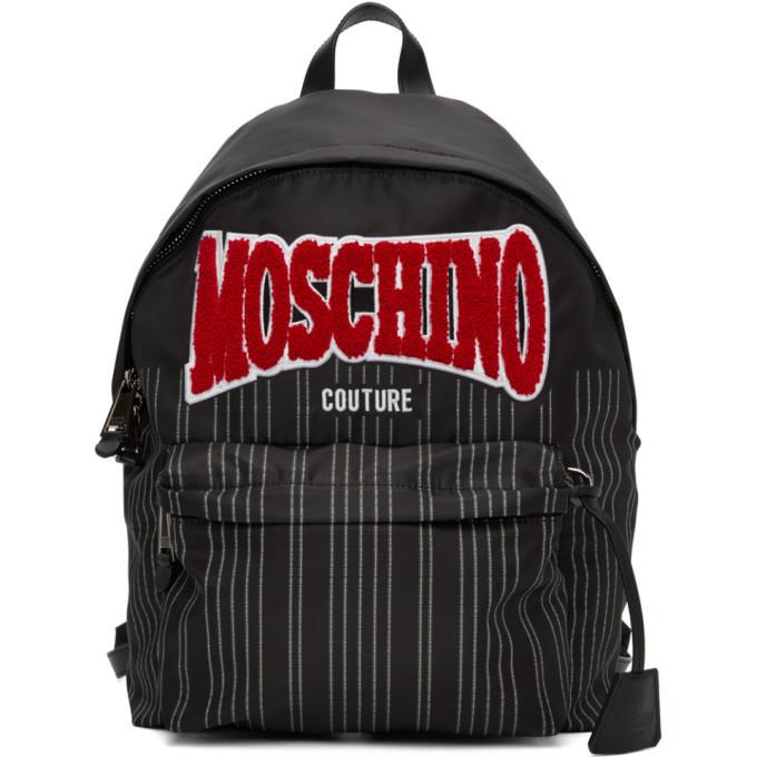 Photo: Moschino Black Nylon Pinstripe Backpack