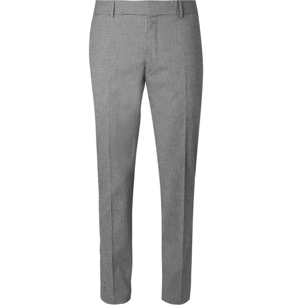 Dunhill - Black Slim-Fit Checked Stretch-Cotton Suit Trousers - Men - Gray