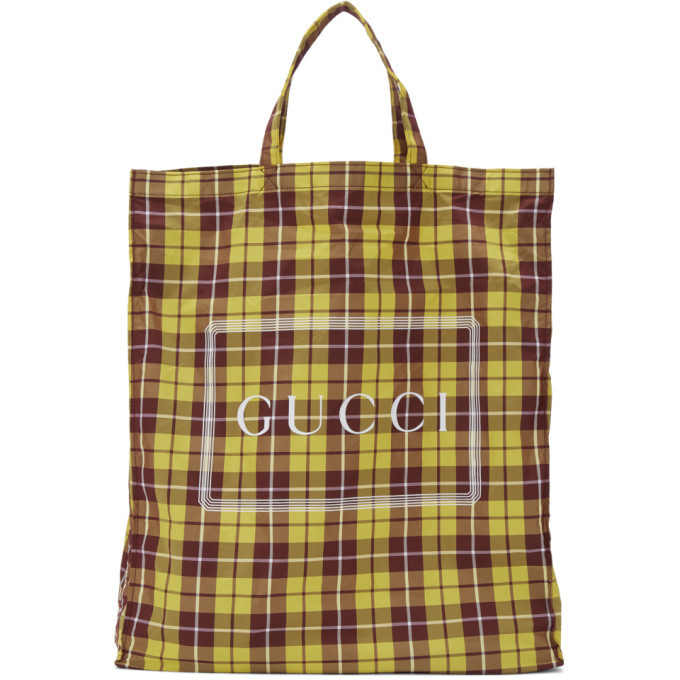 Photo: Gucci Yellow and Burgundy Medium Check Tote