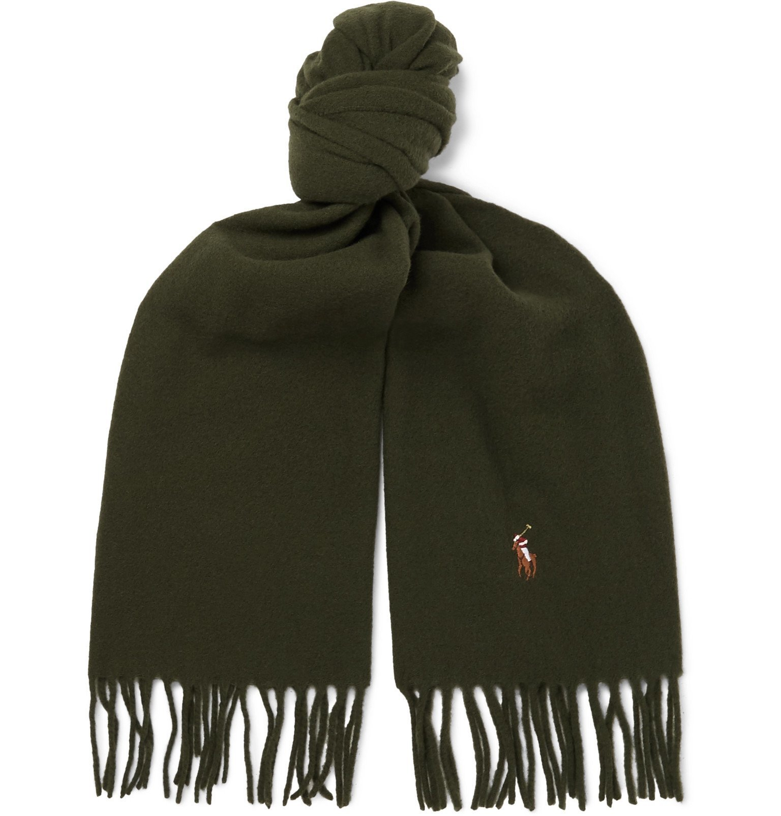 Photo: Polo Ralph Lauren - Reversible Fringed Wool-Blend Scarf - Green