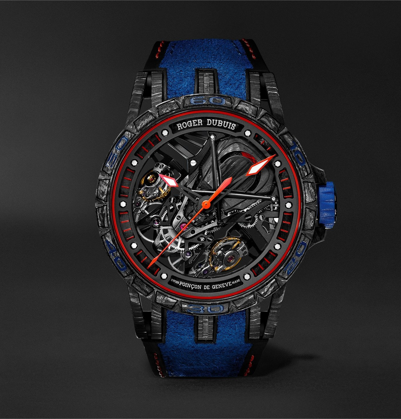 Photo: Roger Dubuis - Excalibur Aventador S Limited Edition Skeleton 45mm Carbon, Rubber and Alcantara Watch, Ref. No. RDDBEX0686 - Blue