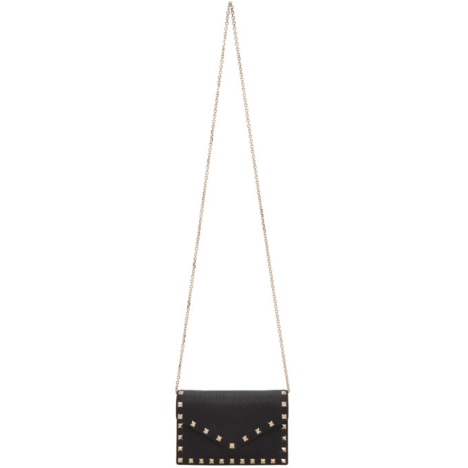 Photo: Valentino Black Valentino Garavani Small Rockstud Envelope Wallet Bag