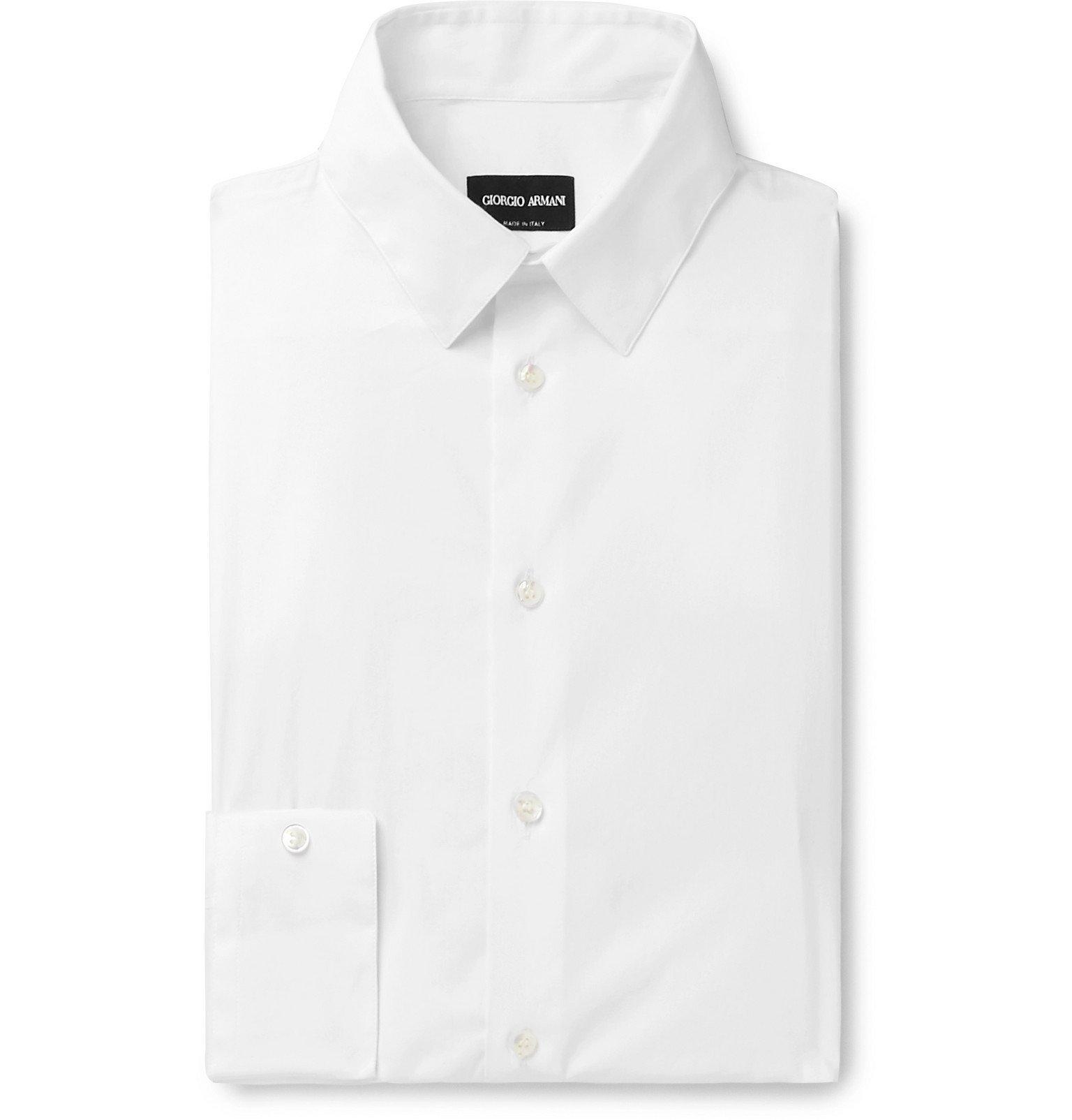 Giorgio Armani - White Cotton-Blend Poplin Shirt - White