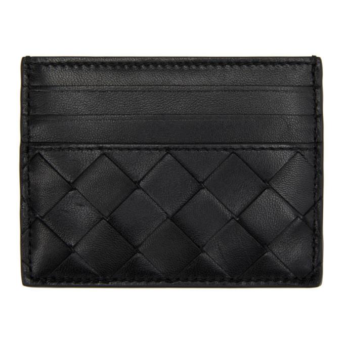 Photo: Bottega Veneta Black Woven Card Holder