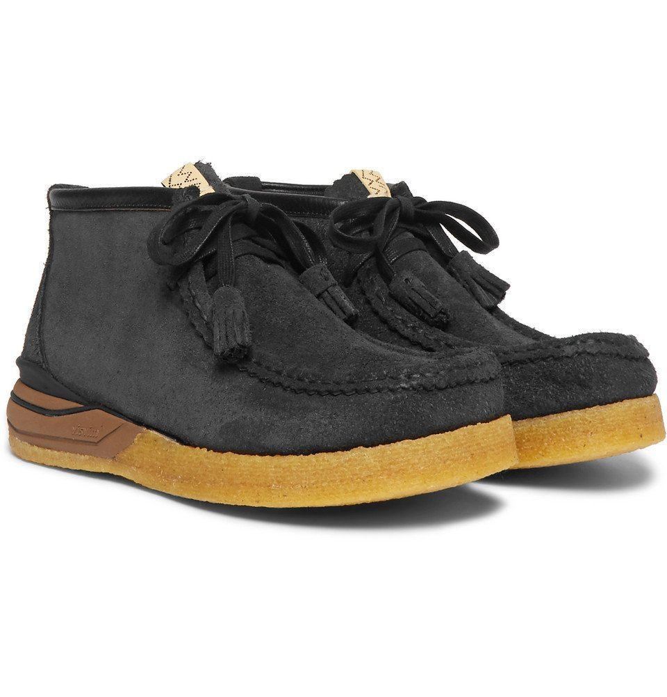 Photo: visvim - Beuys Trekker Folk Leather-Trimmed Suede Boots - Black