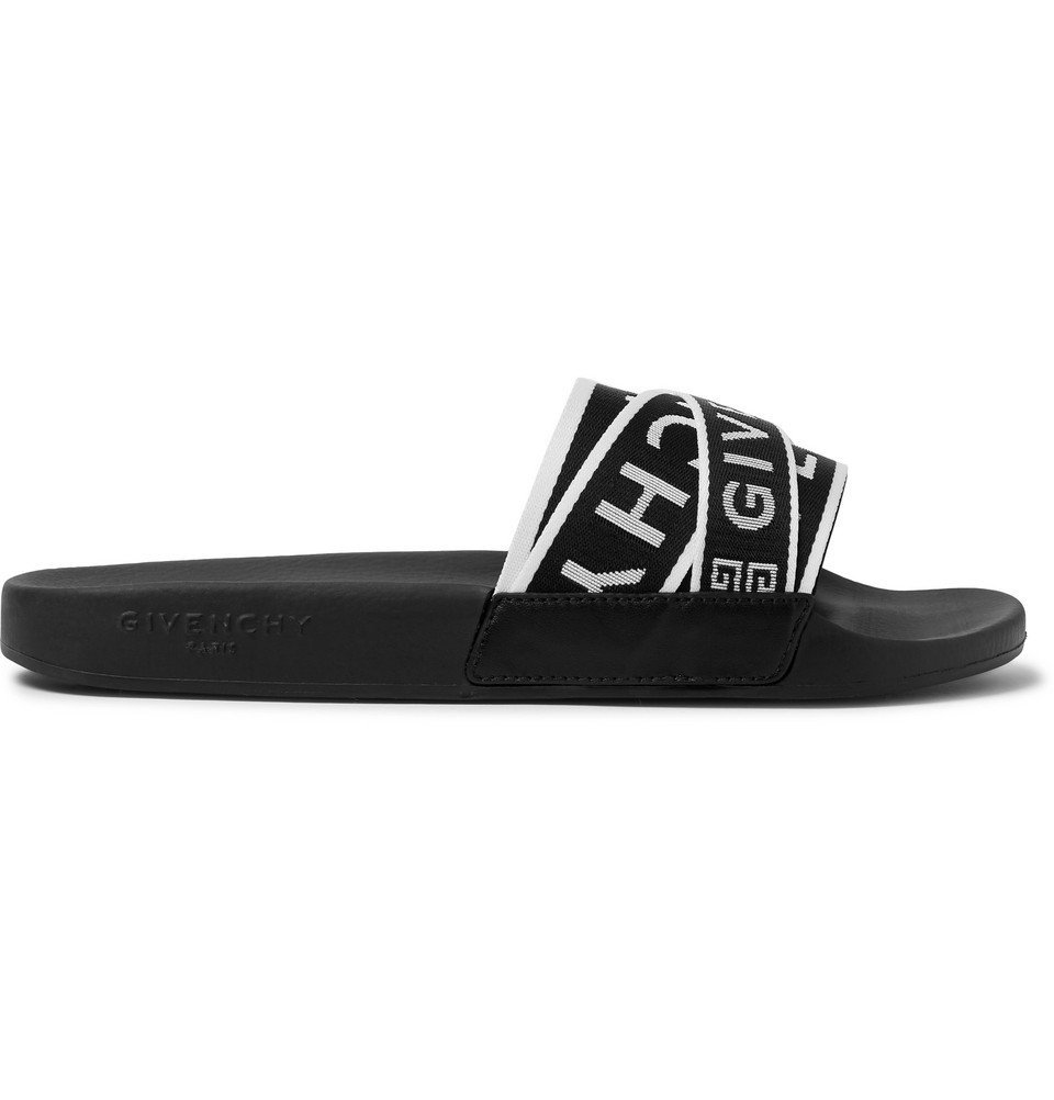 Photo: Givenchy - Logo-Jacquard Webbing, Leather and Rubber Slides - Black
