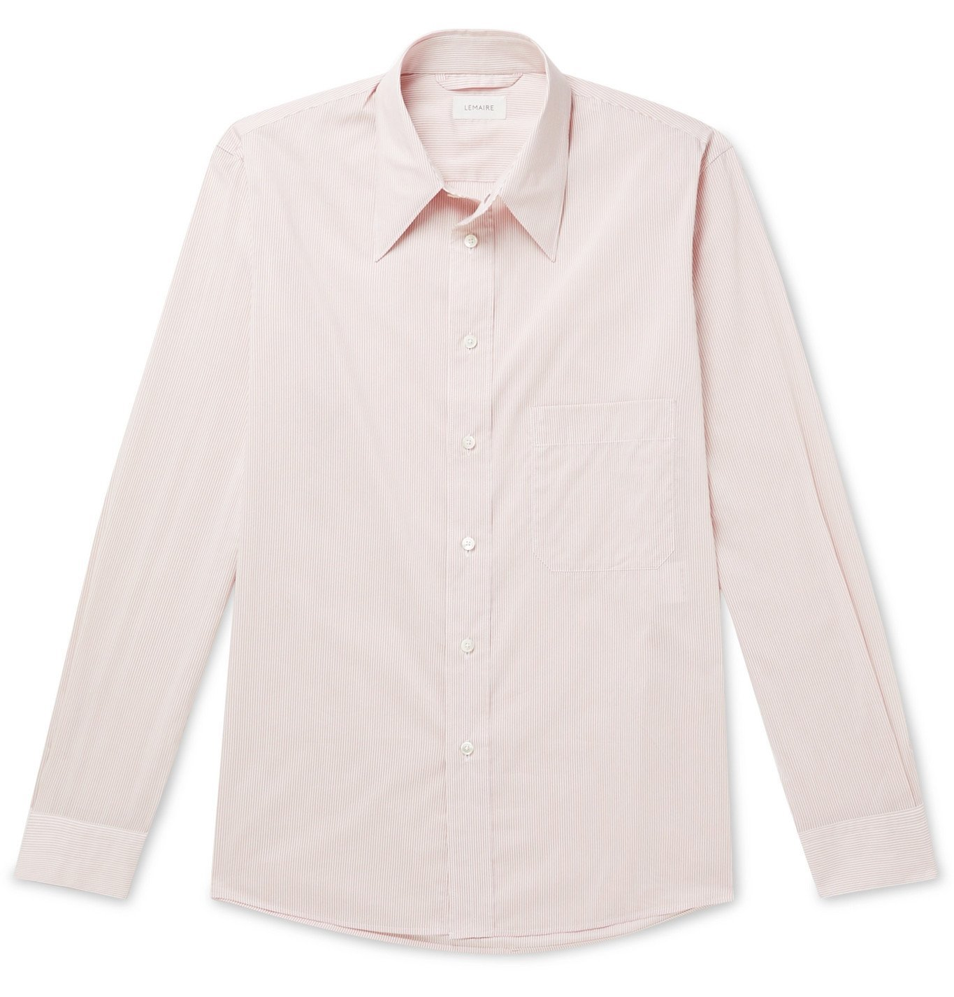Photo: Lemaire - Striped Cotton and Silk-Blend Shirt - Neutrals