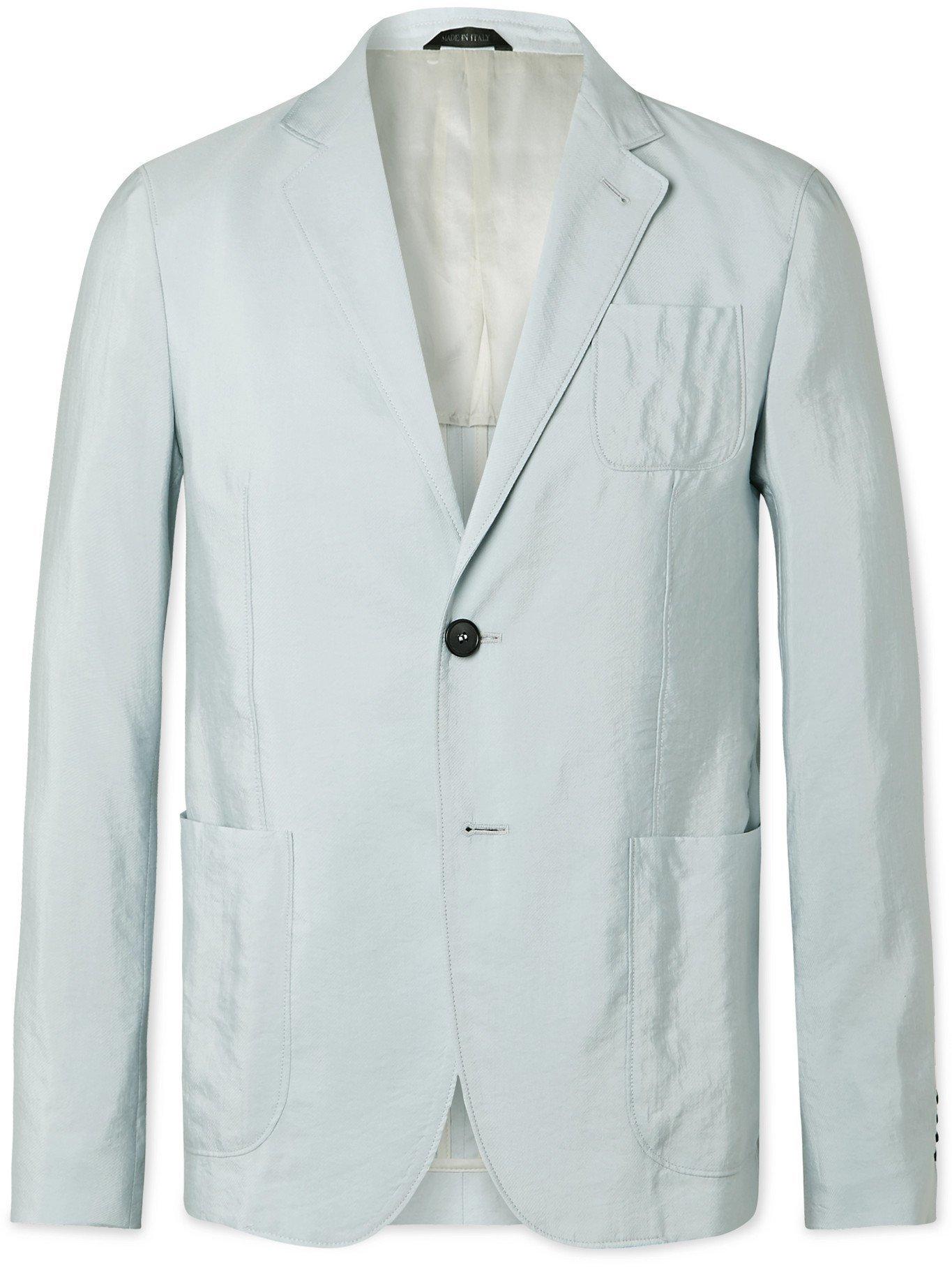 GIORGIO ARMANI - Slim-Fit Silk-Blend Twill Suit Jacket - Blue