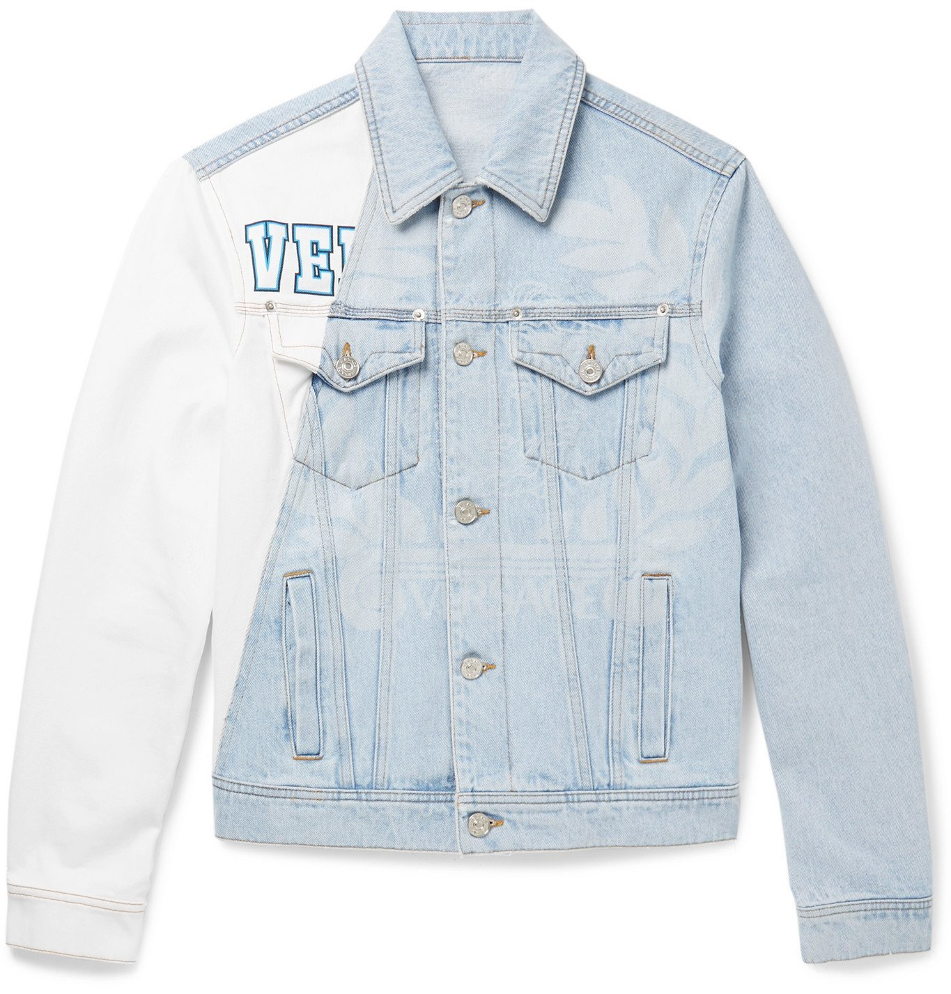 Photo: Versace - Two-Tone Printed Bleached Denim Jacket - Blue