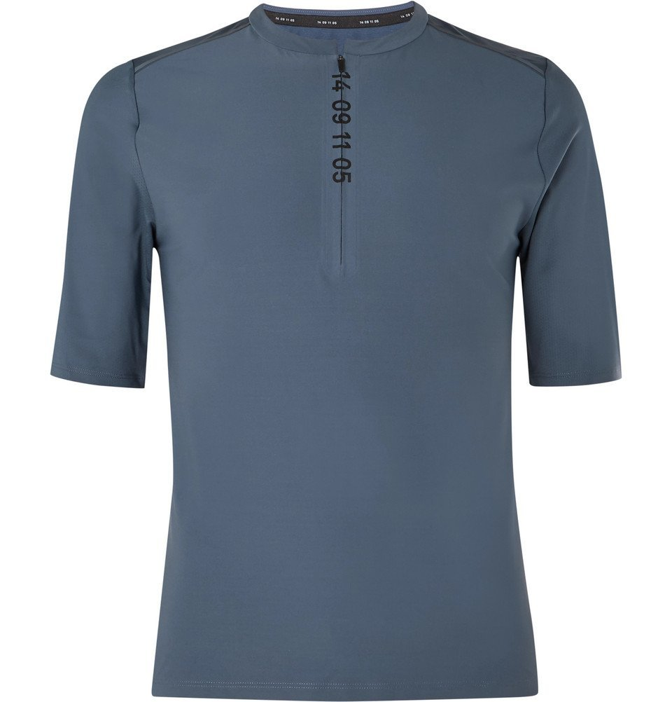 Nike Running - Tech Pack Printed Stretch-Jersey and Mesh Half-Zip Top - Blue