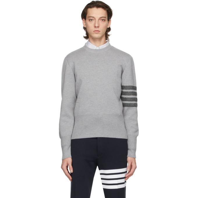 Photo: Thom Browne Grey Merino Milano Stitch 4-Bar Sweater