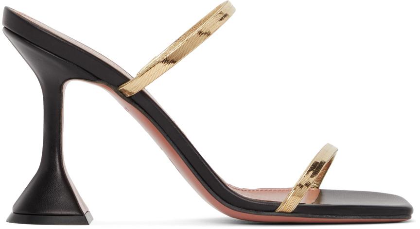 Photo: Amina Muaddi Black & Gold Henson Heeled Sandals