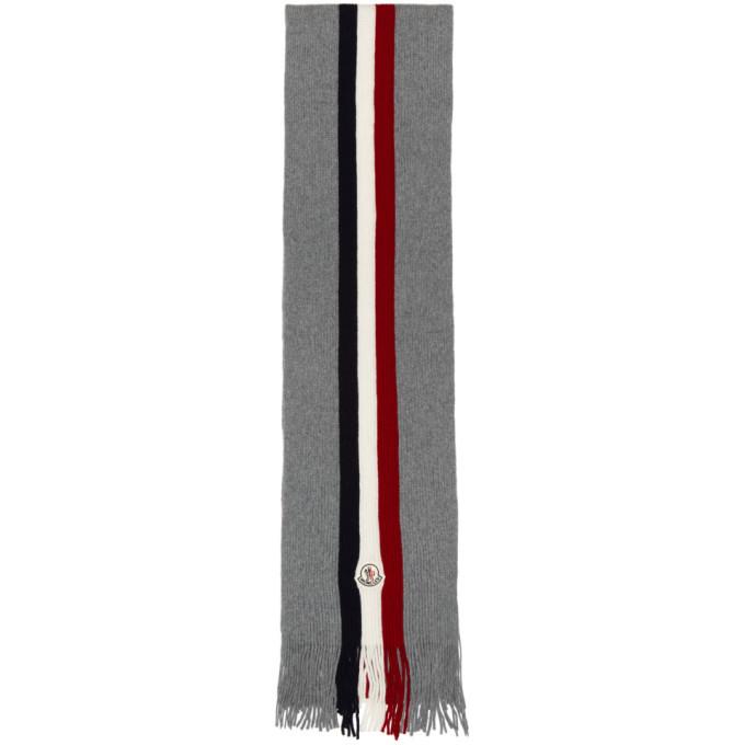 Photo: Moncler Grey Flag Stripes Wool Scarf