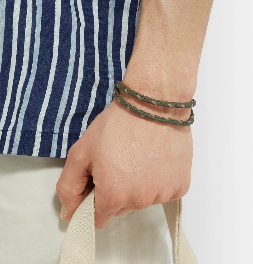 Tod's - Woven Leather and Silver-Tone Wrap Bracelet - Green