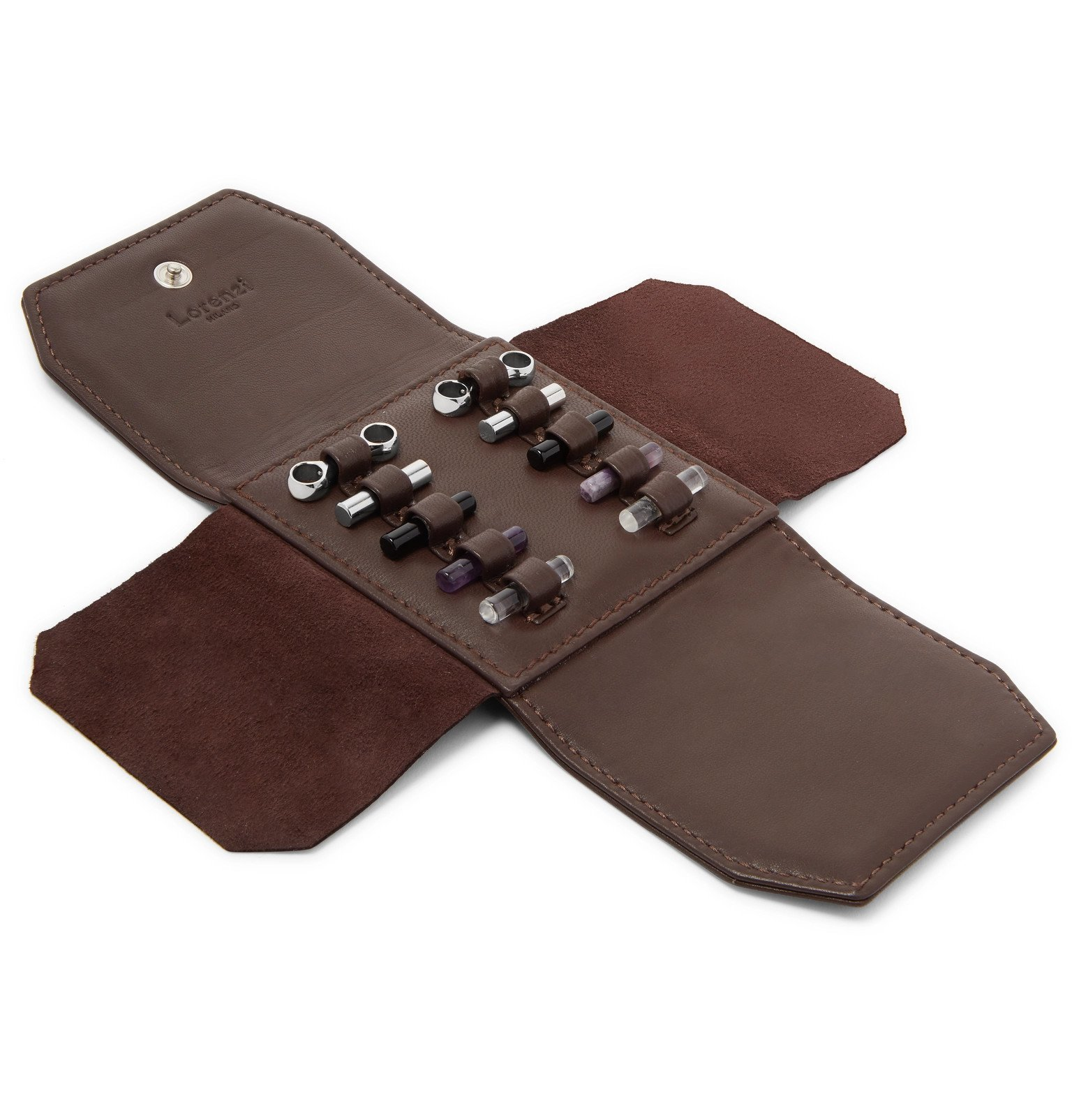 Photo: Lorenzi Milano - Rhodium-Plated Cufflinks Set with Full-Grain Leather Case - Brown