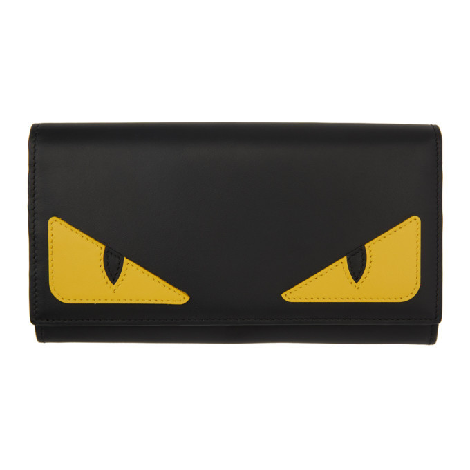 Photo: Fendi Black and Yellow Bag Bugs Continental Wallet