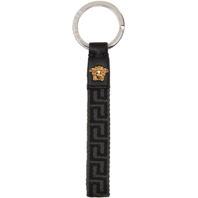 Photo: Versace Grey and Black Greca Keychain