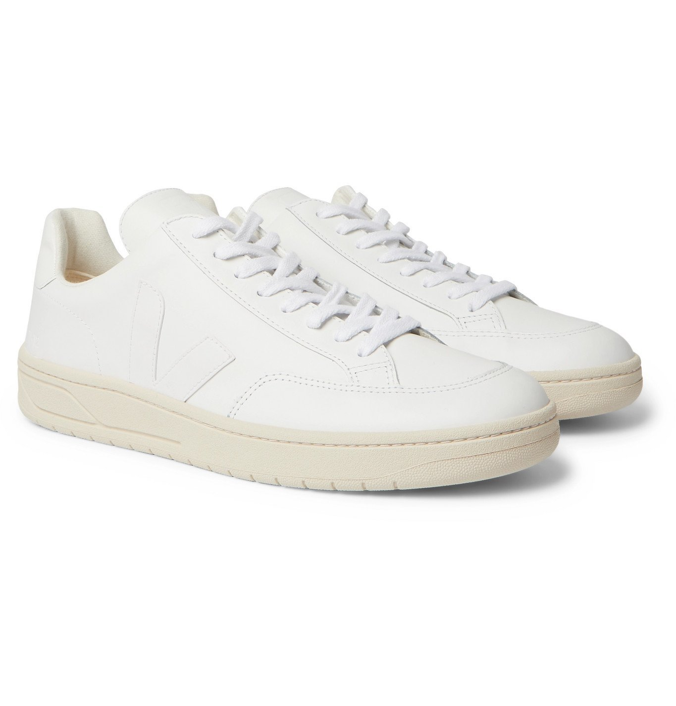 Photo: Veja - V-12 Suede-Trimmed Leather Sneakers - White