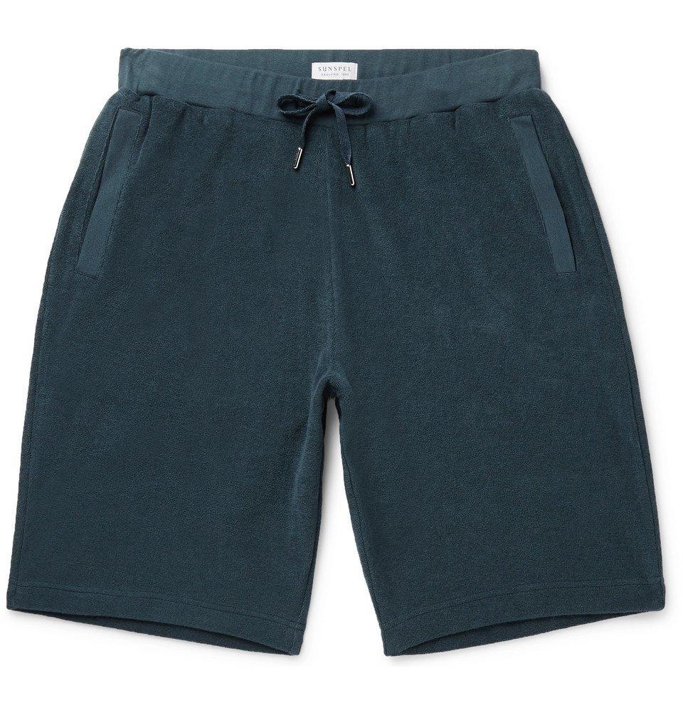 Sunspel - Cotton-Terry Drawstring Shorts - Petrol