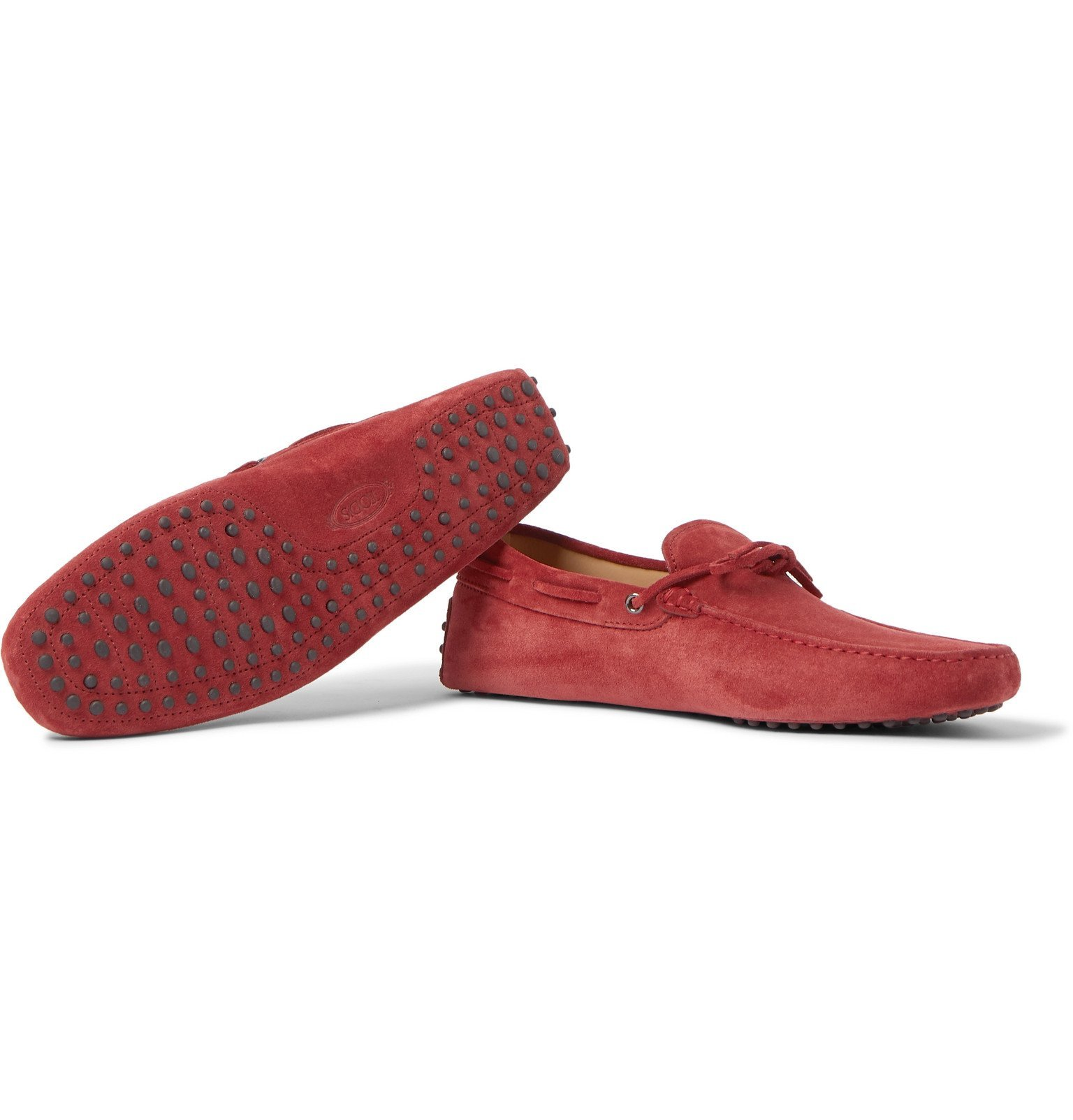 Tod's - Gommino Suede Driving Shoes - Red