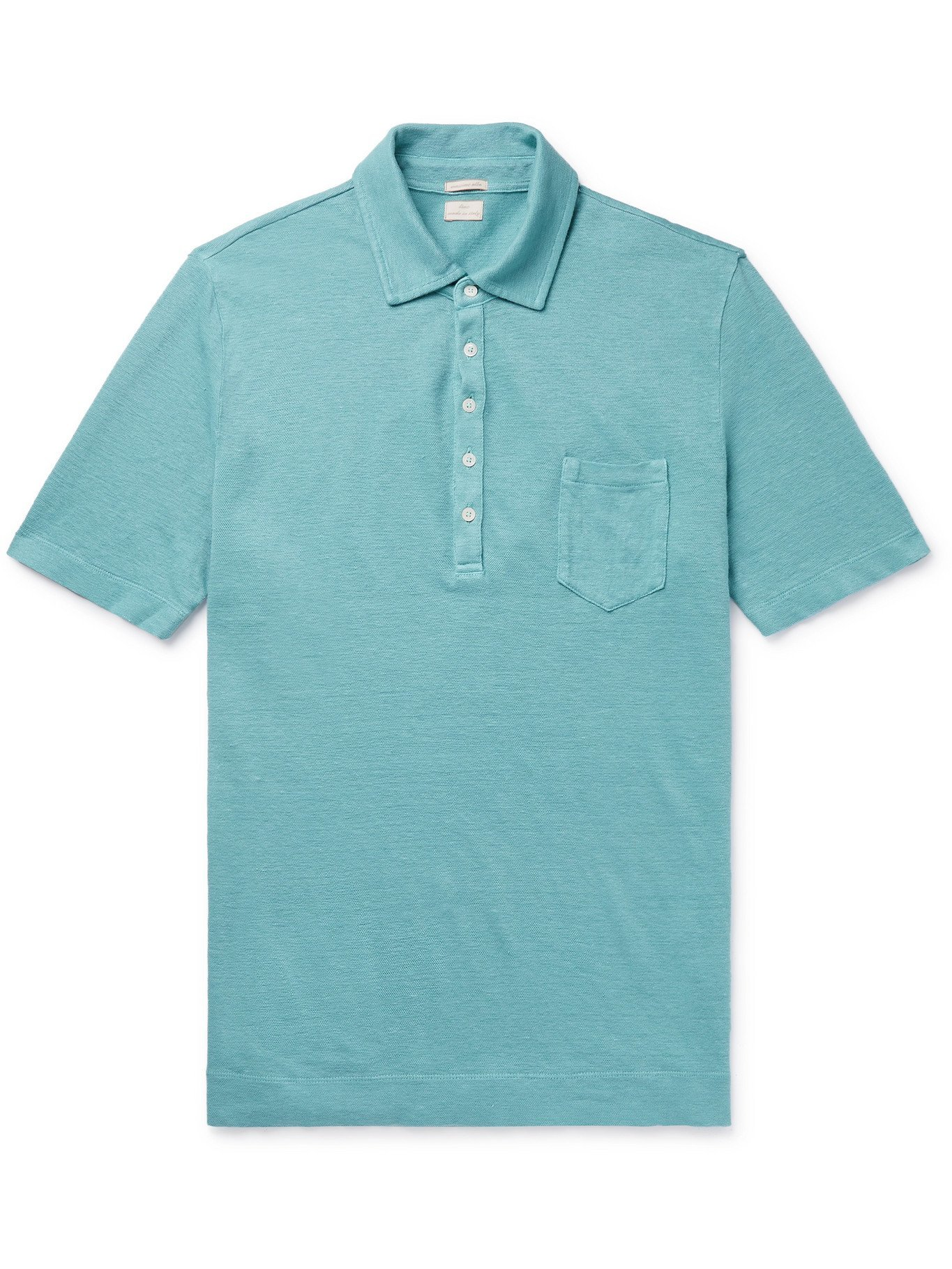 Photo: MASSIMO ALBA - Wembley Textured-Linen Polo Shirt - Blue - M