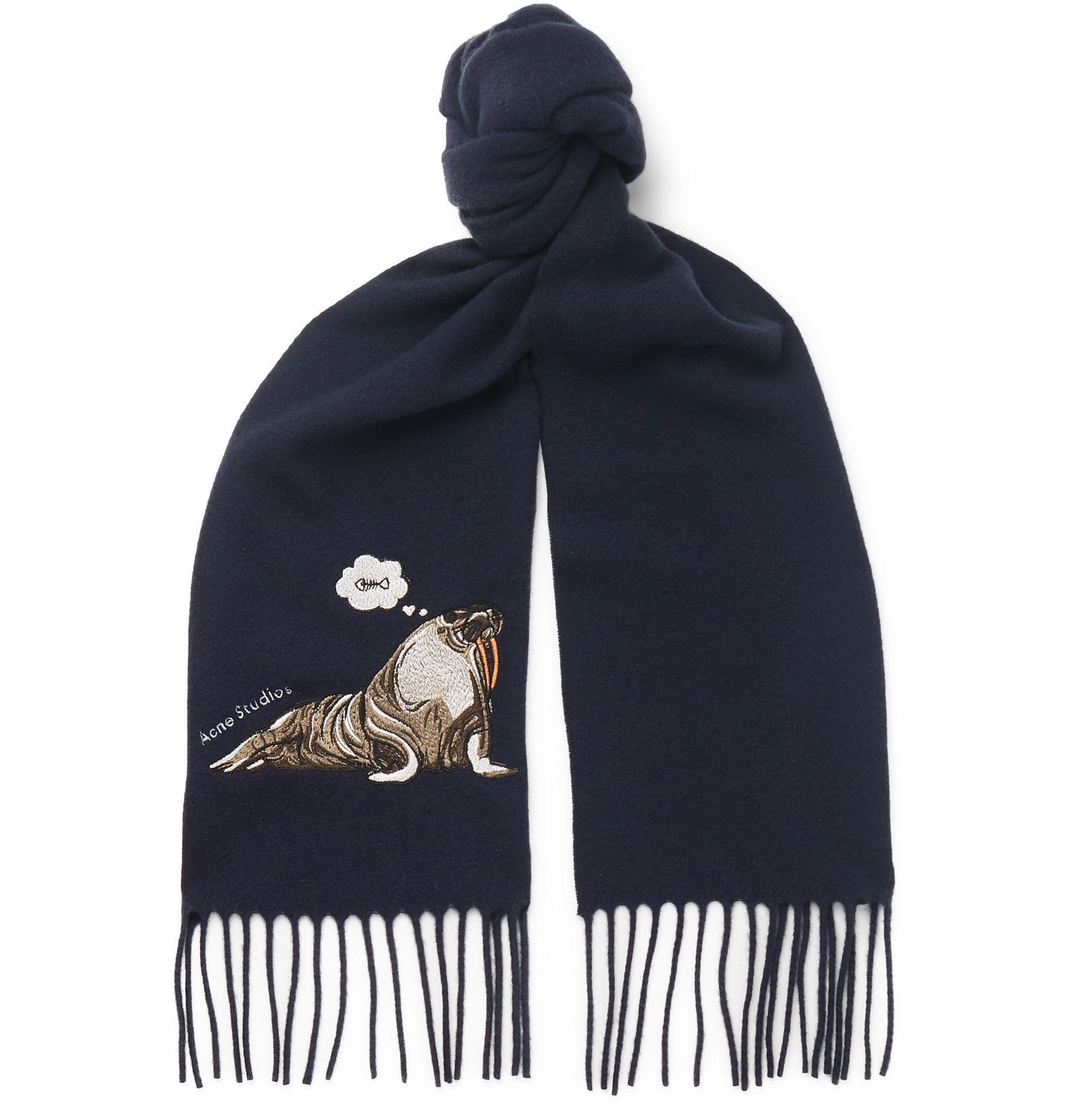 Photo: Acne Studios - Fringed Embroidered Brushed-Wool Scarf - Blue