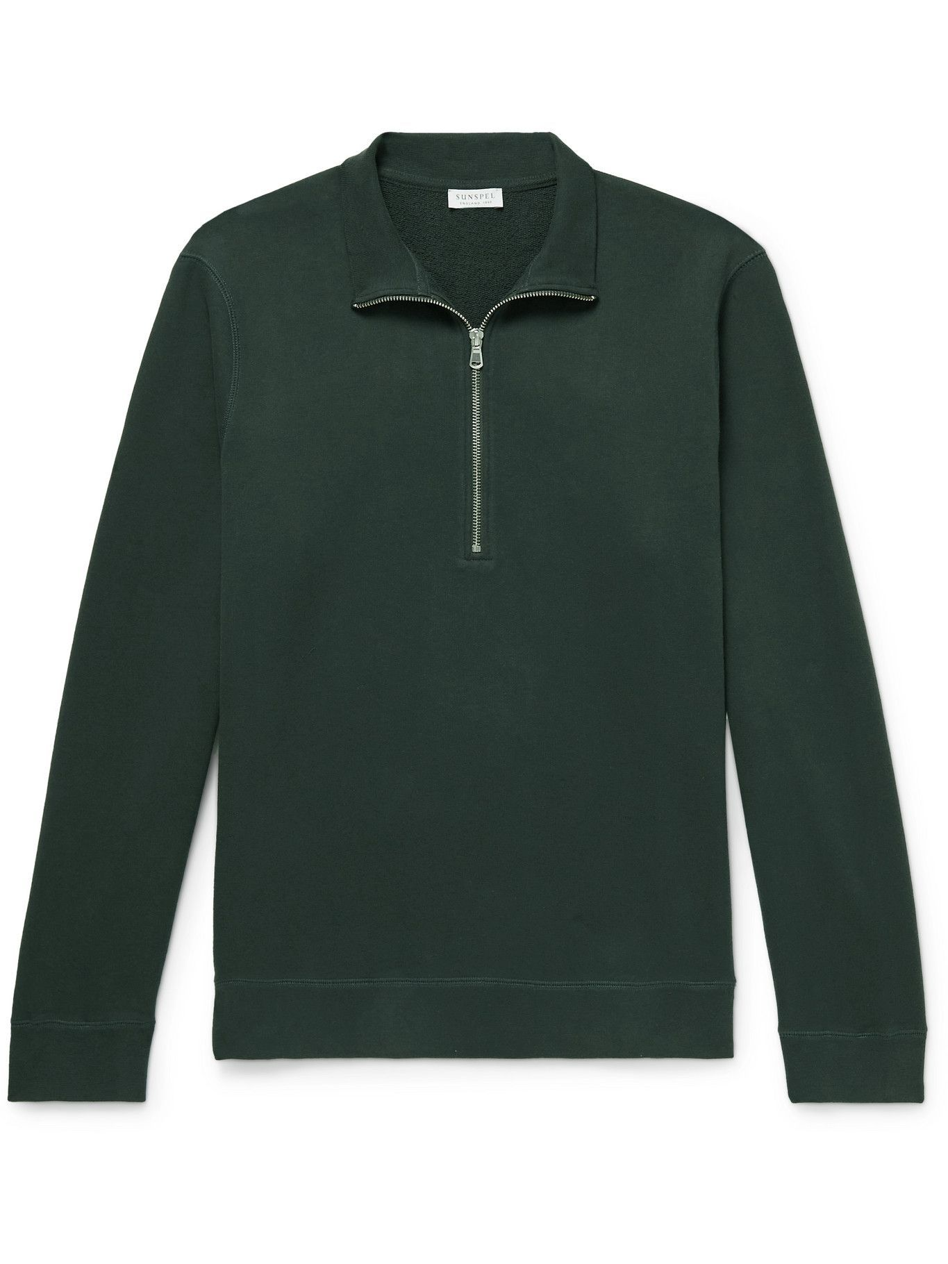 Photo: Sunspel - Cotton-Jersey Half-Zip Sweatshirt - Green