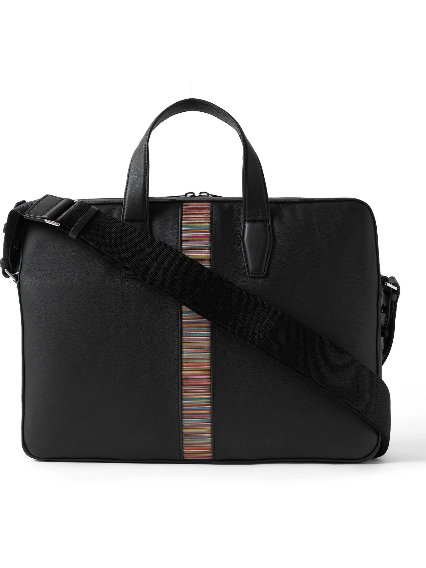 Photo: PAUL SMITH - Striped Leather Briefcase - Black