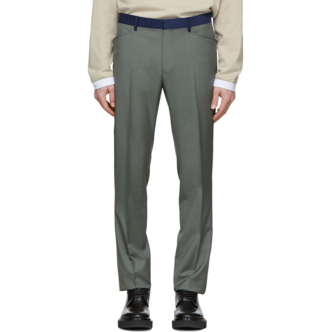 Photo: Lanvin Green Contrasted Waist Tailored Trousers