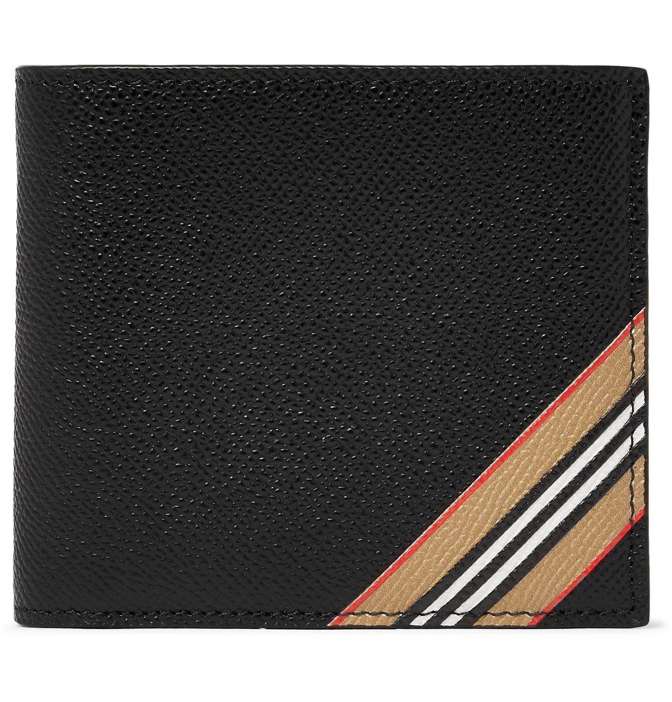 Photo: Burberry - Striped Full-Grain Leather Billfold Wallet - Black