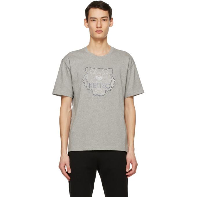 Photo: Kenzo Grey Embroidered Velvet Tiger T-Shirt