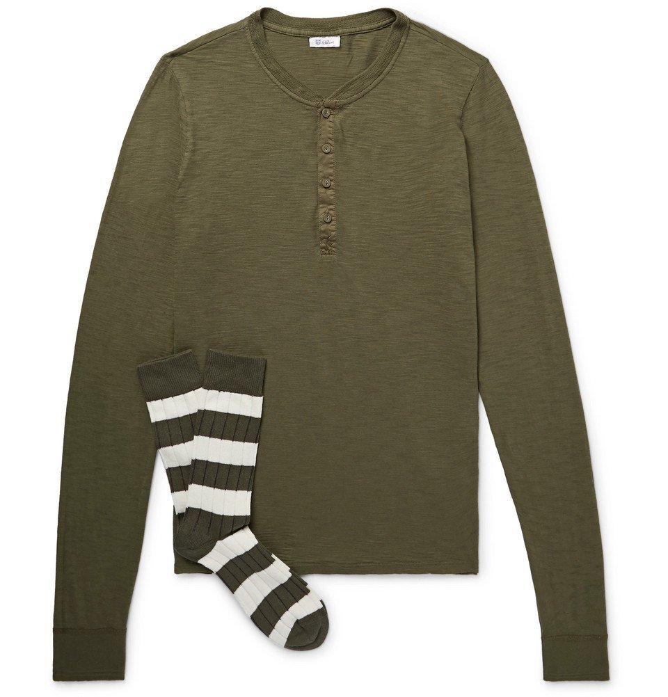 Schiesser - Hanno Slub Cotton-Jersey Henley T-Shirt and Stretch Cotton-Blend Socks Set - Men - Army green