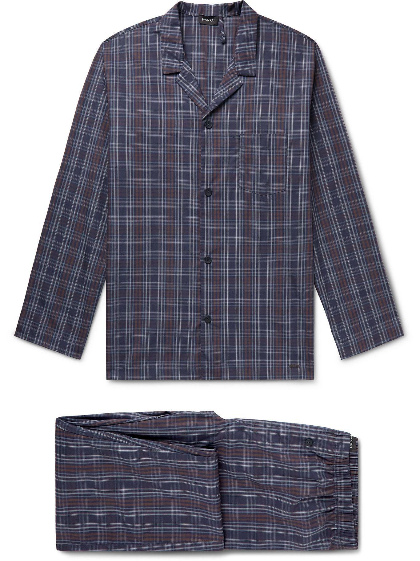 Photo: Hanro - Night & Day Checked Cotton Pyjama Set - Blue