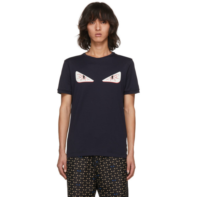 Photo: Fendi Navy Tired Eye Bag Bugs T-Shirt