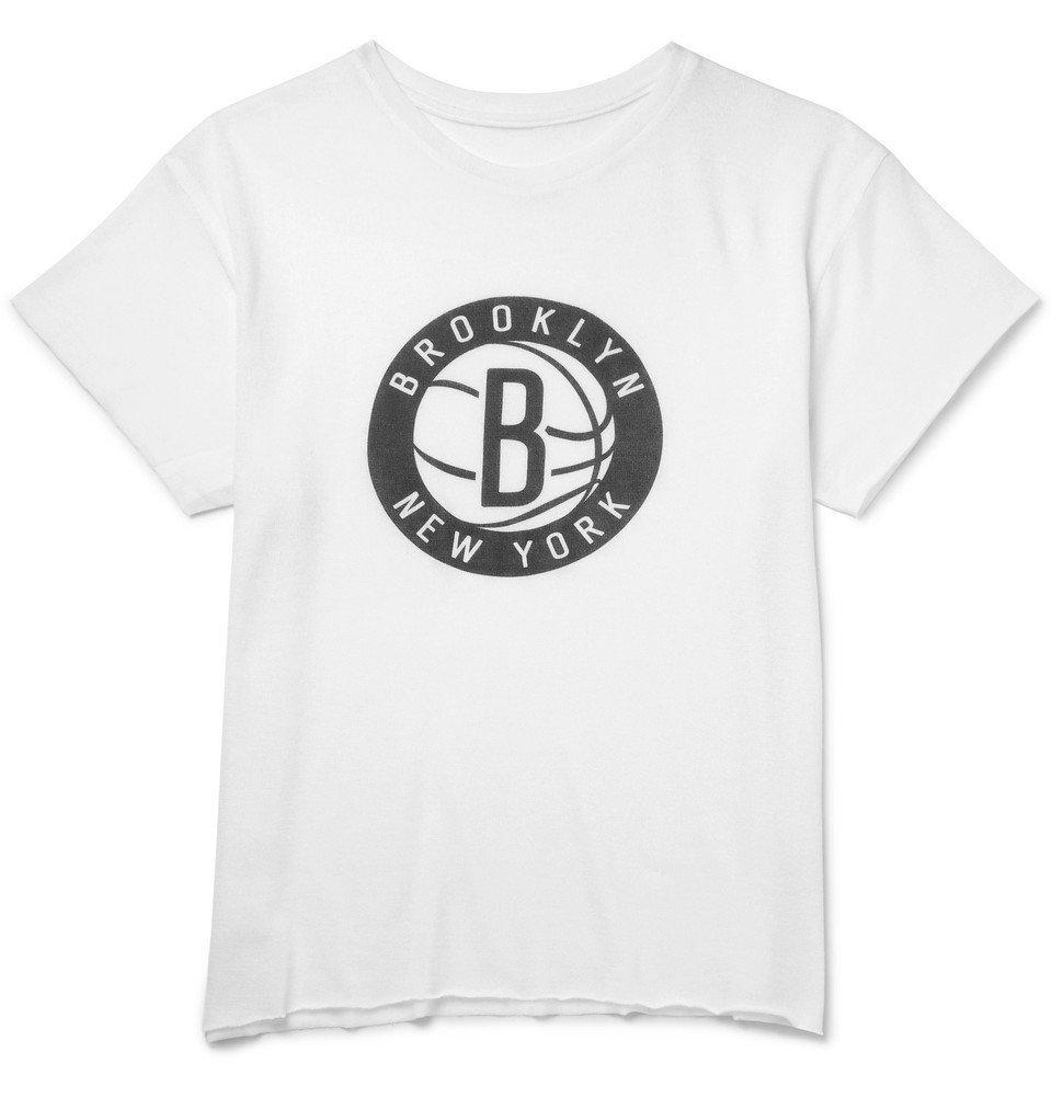The Elder Statesman - NBA Brooklyn Nets Cashmere and Silk-Blend T-Shirt - White