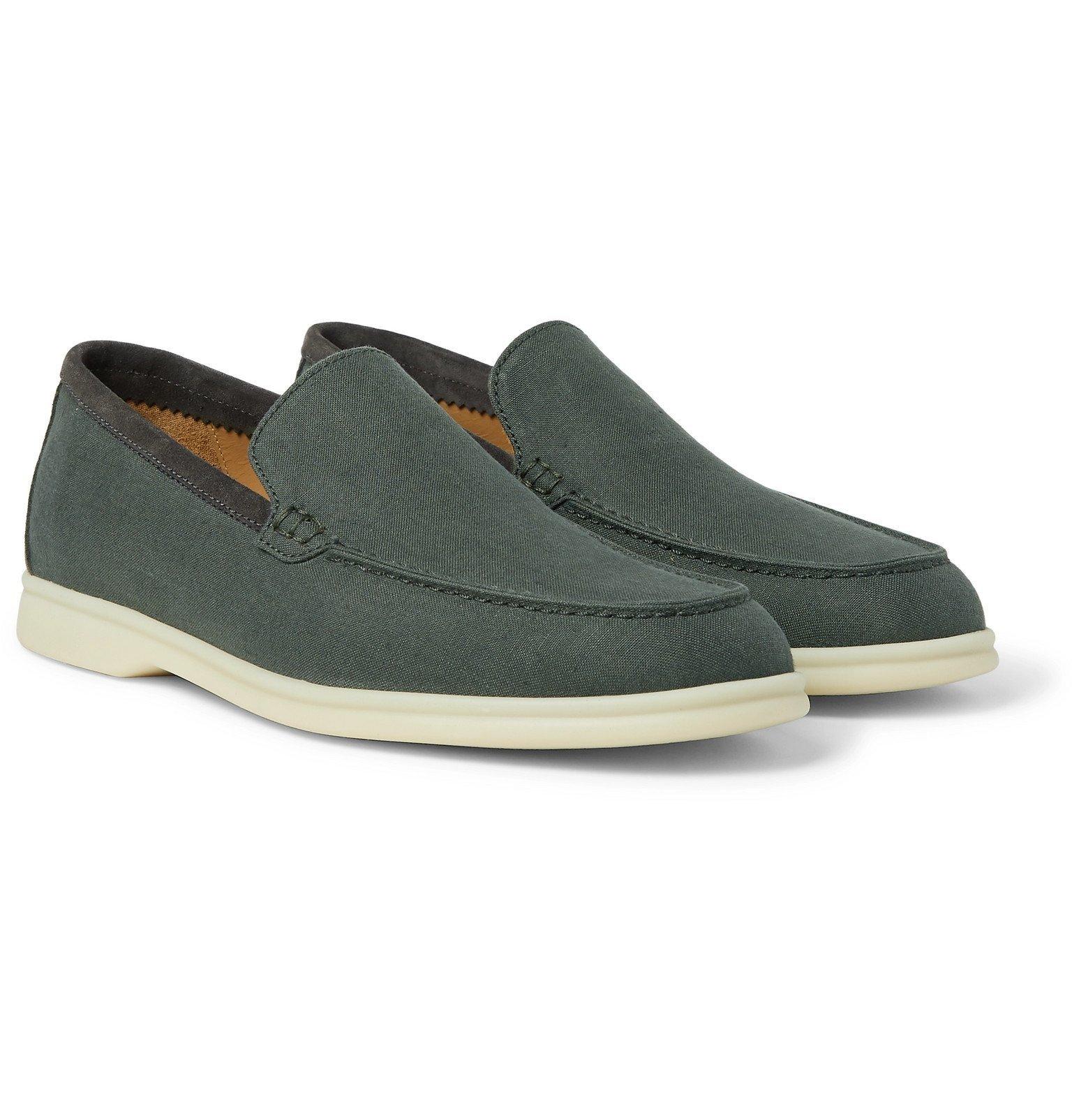 Photo: Loro Piana - Summer Walk Linen Loafers - Gray