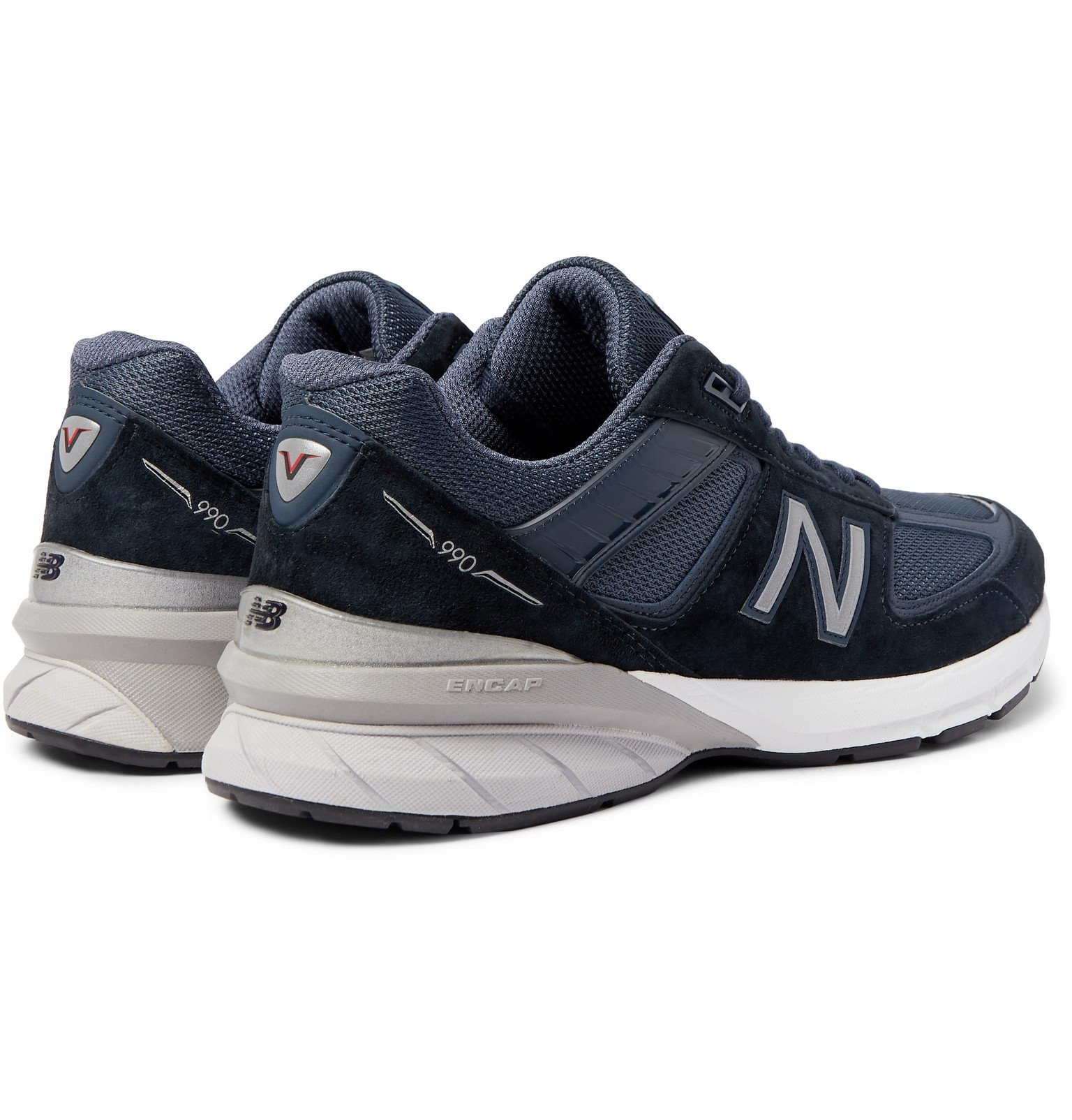 New Balance - M990V5 Suede and Mesh Sneakers - Blue