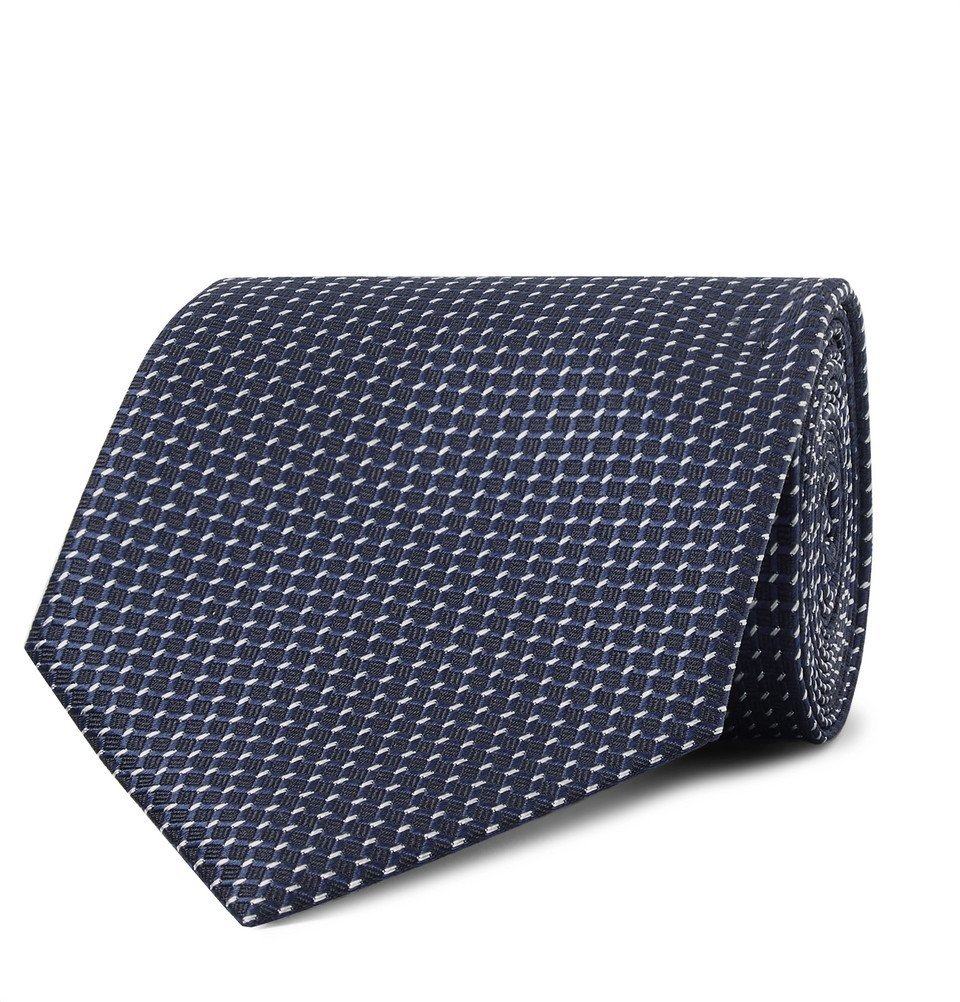 Photo: Ermenegildo Zegna - 8cm Silk-Jacquard Tie - Navy