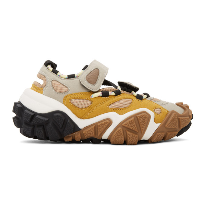 Acne Studios Grey and Yellow Bolzter Bryz Sneakers