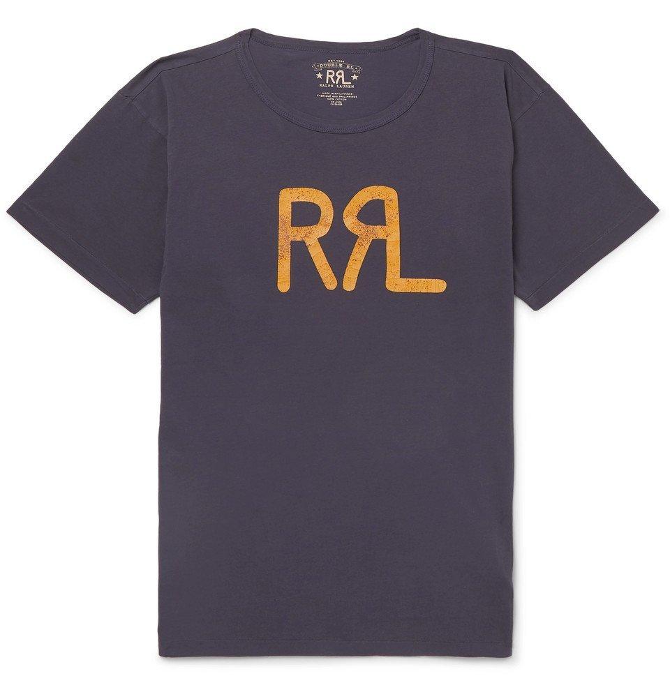 RRL - Slim-Fit Logo-Print Cotton-Jersey T-Shirt - Navy