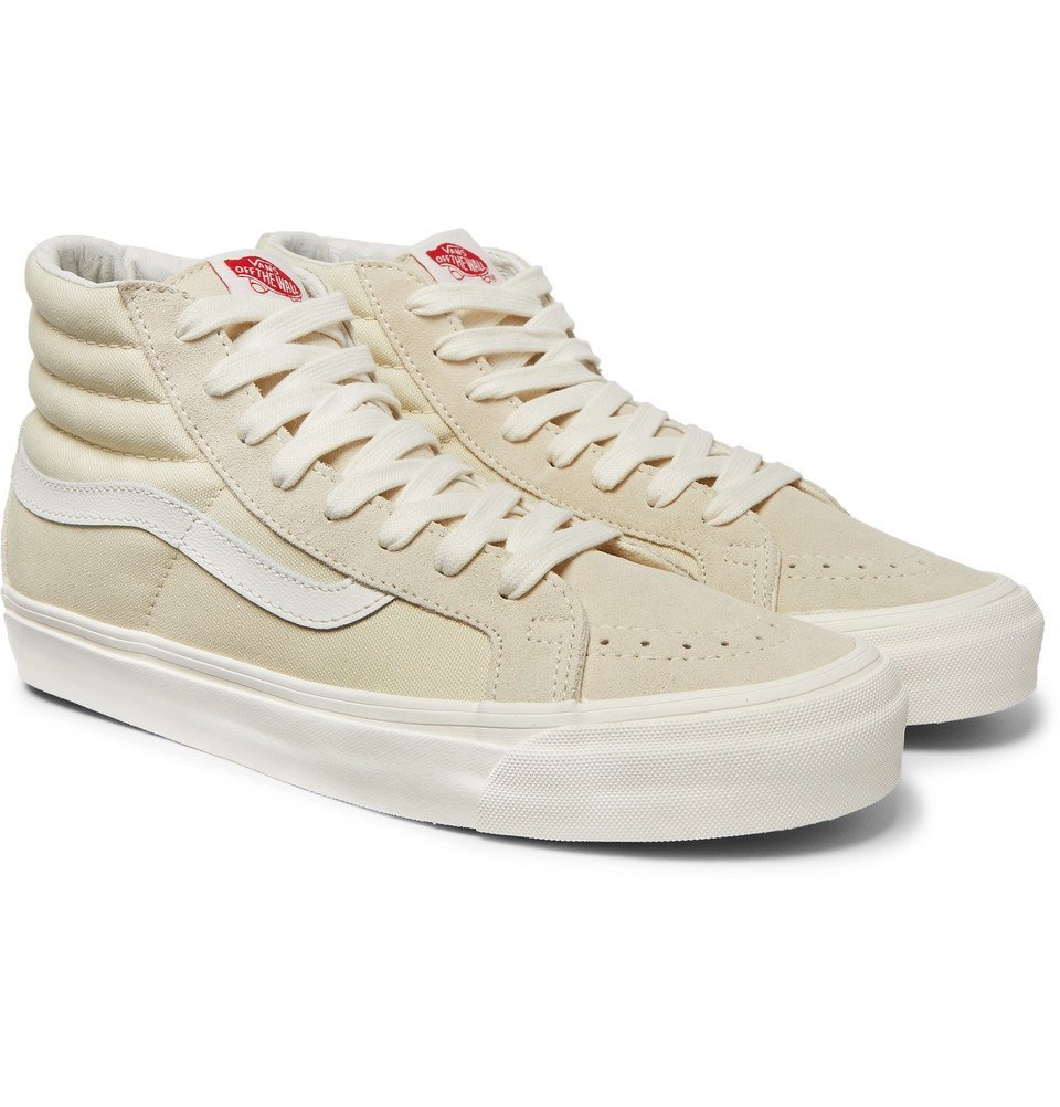 Photo: Vans - OG SK8-Hi LX Canvas And Suede High-Top Sneakers - White